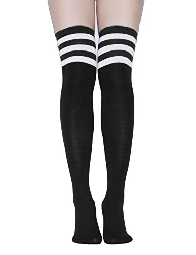 Womens Referee Costume With Shorts (TooPhoto Women Daily Campus Tube Festival Gifts Thigh Knee High Stockings Socks)