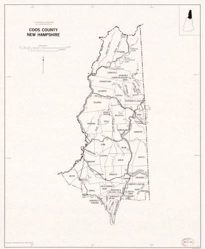 1979 Map Coos County, New Hampshire - Size: 20x24 - Ready to Frame - Coos County | New Hampshire | C County New Hampshire Map