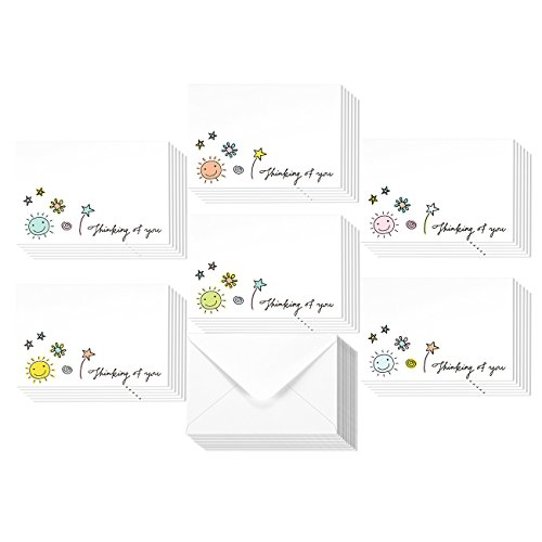 36 Assorted Pack Thinking of You Note Cards - Bulk Box Set - Blank on the Inside - 6 Colorful Doodle Designs - Includes 36 Greeting Cards and Envelopes - 4 x 6 Inches