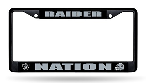 Rico Industries, Inc. Oakland Raiders BLACK RAIDER NATION Chrome Frame Metal License Plate Tag Cover Football ()
