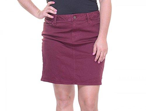 Back Slit Denim Skirt - Tommy Hilfiger Womens Denim Back Slit Denim Skirt Red 6