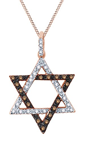 (Hanukkah Holy Day Sale Round Cut Champagne & White Natural Diamond Star of David Pendant in 10K Rose Gold (1/10 cttw))