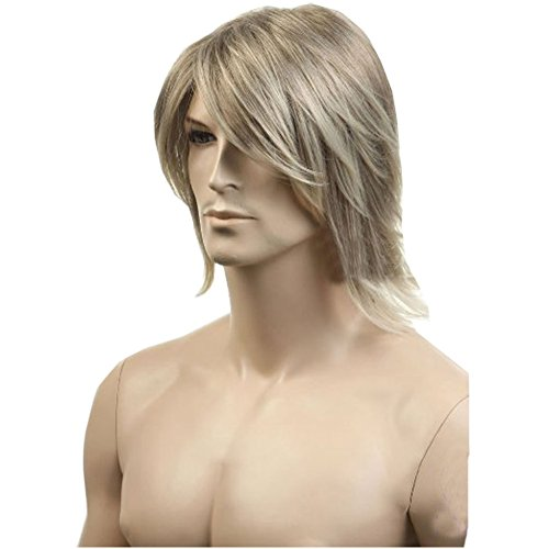 KOLIGHT® European USA Hot Men Wigs Short Flaxen Gold Color Men Natural Looking Synthetic High Quality Hair Wig ()