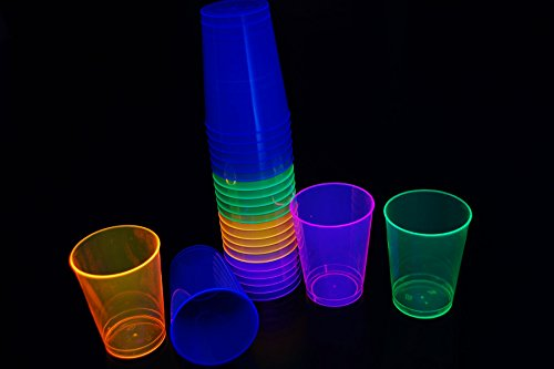 50ct Blacklight Reactive 10oz Party Cups + 5 Blacklight Balloons (Neon -