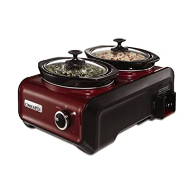 Crock-Pot SCCPMD1-R Hook Up Double Oval Connectable Entertaining Slow Cooker System, 1-Quart, Metallic Red