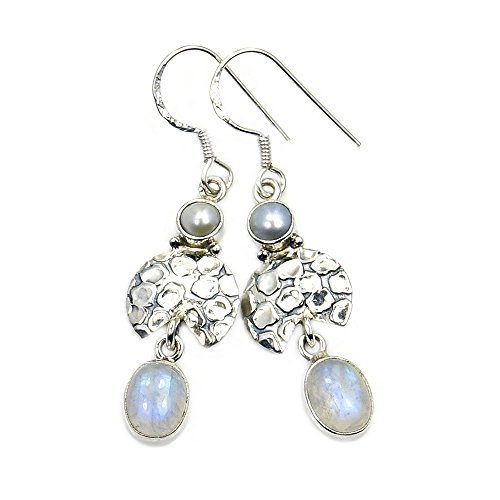 'Bridal Bliss' Sterling Silver Moonstone, Simulated Pearl Dangle Earrings