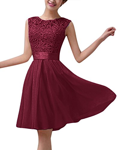 - ZANZEA Women's Sleeveless Floral Lace Crochet Chiffon Slim A Line Skater Cocktail Party Prom Mini Dress Wine Red US 4