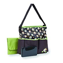 Babyboom Deluxe Tote Diaper Bag with Wipes Case Monkey, Brown