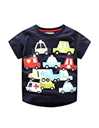 Lavany Little Boys Shirts Cartoon Car Printed Short Sleeve Clothes Tee for Baby