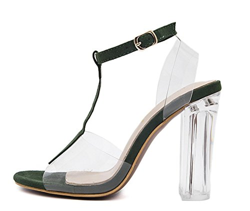 ZPL Shoes Ladies Prom 3 toe Black Ankle Strap Strappy Buckle green 7 Summer Womens Evening Party Size Peep Block Heel Sandals rUxaqr8w1F