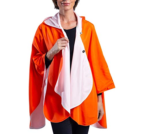 SpiritCaper Rainproof Rain Poncho for Women - Ultrasoft Reversible Rain Cape for Tailgating & Sidelines (Orange/White)