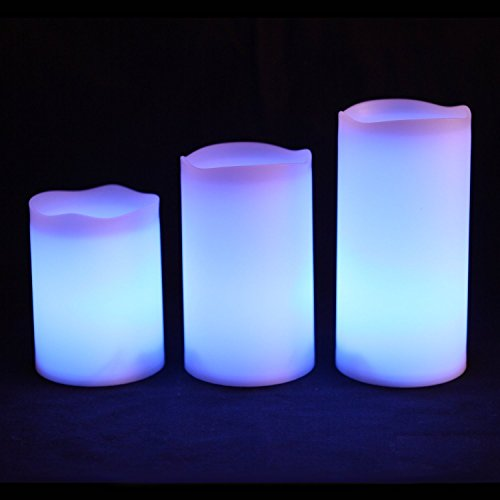 3 Pcs Set Ivory Wax Flickering Flameless Color Changing