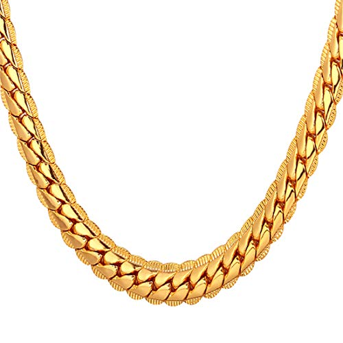 U7 Men Women 18K Gold Plated Chain 18KGP Stamp Fashion Jewelry Boys 6MM Wide Unique Snake Chain Necklace, 18 Inch