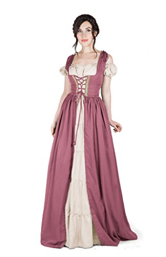 (Boho Set Medieval Irish Costume Chemise and Over Dress (S/M,)
