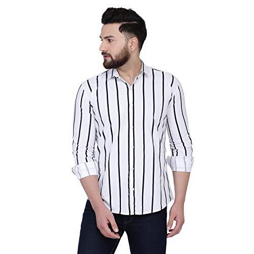 DUENITE White Stripe Casual Cotton Shirt for Men