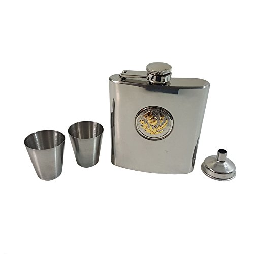 GOLD THISTLE STAINLESS STEEL HIP FLASK 6OZ FUNNEL SHOT GLASSES MADE IN UK 6 Ounce Thistle