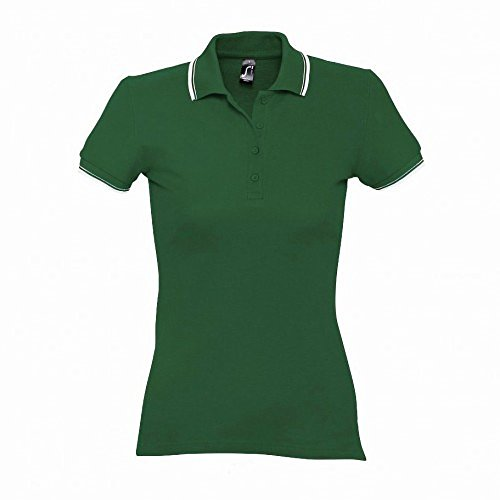 SOL'S Womens/Ladies Practice Tipped Pique Short Sleeve Polo Shirt (XXL (14-16 US)) (Green/White) - White Tipped Pique Sport Shirt