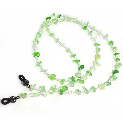 Handcrafted Beaded Lanyards (Green and White Eyeglass Chain Fancy Beaded Lanyard Glasses Accessory)