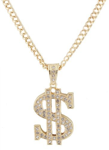 Metallic Goldtone With Clear Iced Out Dollar Sign Pendant