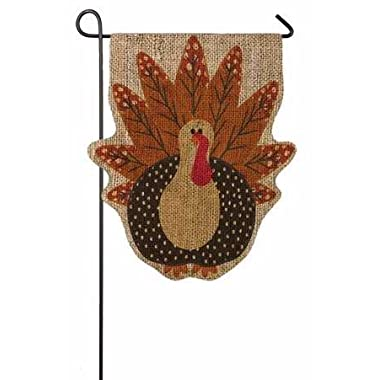 Evergreen Turkey Time Shaped Burlap Garden Flag, 12.5 x 18 inches