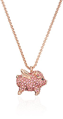 kate spade new york Pink Pave Pig Mini Pendant Necklace, 17″ + 4″ Extender