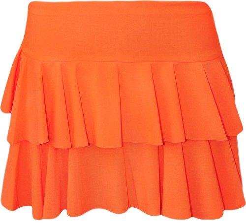 Fashion Mark - Neu Damen Dehnbar Leuchtfarben Rara Mini Rock Kurz Skirt - 10 Farben - Größe 36-42 (40/42, Orange)