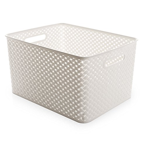 BINO Woven Plastic Storage Basket, X-Large (White) (Wicker Laundry Baskets Cheap)