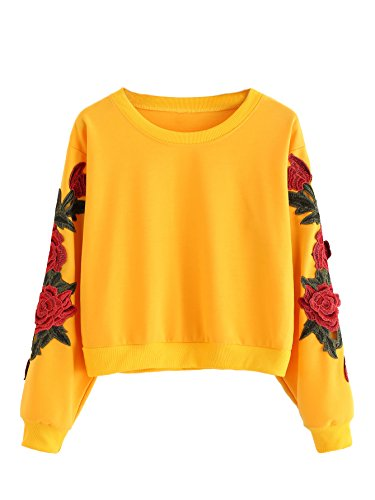 Romwe Women's Casual 3D Embroidered Crew Neck Pullover Crop Top Sweatshirt Yellow XL/US 10 -