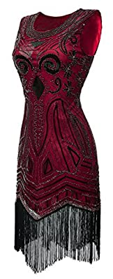 eforpretty Womens 1920s Diamond Sequined Embellished Fringed Flapper Dress