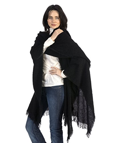 Kerry Woollen Mills Celtic Ruana Long Shawl Irish Wool Lambswool Black by Kerry Woollen Mills