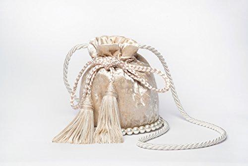 Designer Gigi Handbag - MAY TIMELESS GIGI nude crossbody bucket handbag for Women velvet handbag with pearls