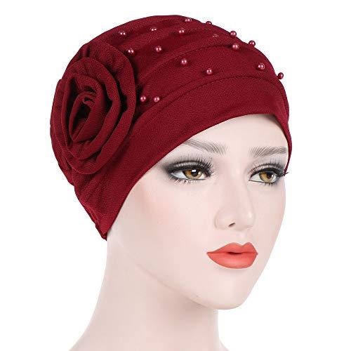 Women Beading India Hat Muslim Ruffle Cancer Chemo Beanie Floral Turban Wrap Cap (Wine)