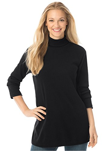 Women's Plus Size Rib Knit Turtleneck Tee Black,1X