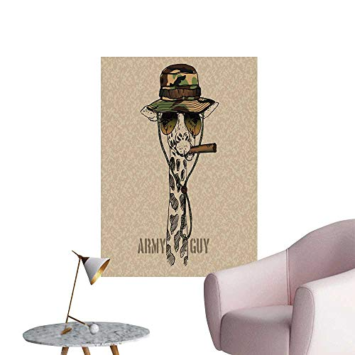 SeptSonne Wall Art Prints Military Giraffe Cigar Isolate Grunge backgroun for Living Room Ready to Stick on Wall,28