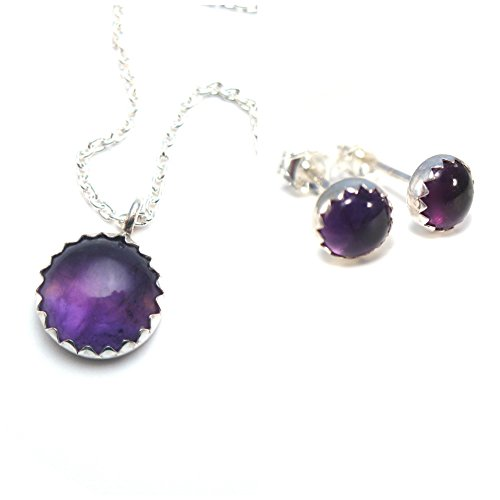 Amethyst Necklace and Earrings Set, Matching Amethyst Studs and Pendant