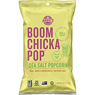 Angie's BOOMCHICKAPOP Sea Salt Popcorn, 1.25 Ounce Bag (Pack of 12)