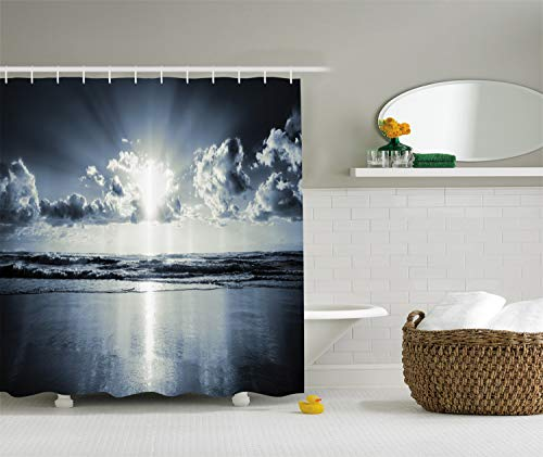 Ambesonne Nautical Decorations Collection, Black and White Inspirational Beach Artwork Prints Cloudy Morning Sunrise, Polyester Fabric Bathroom Shower Curtain Set with Hooks, Black White