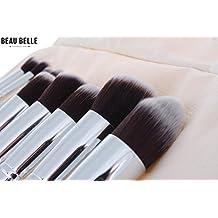 Beau Belle Makeup Brushes + Makeup Case - 10pcs Professional Makeup Brushes - Kabuki Brush Set - Kabuki Makeup Brush Set - Makeup Brushes Set