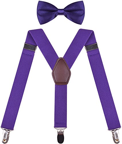 Quality Suspenders Braces for Trousers Men Women Suspender Belt Dark Purple Dark Purple mens 49 Inches ()
