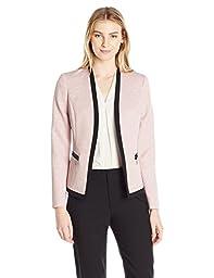 Kasper Women\'s Jacquard Jacket W Contrast Detailing, Tutu Pink/Black, 4