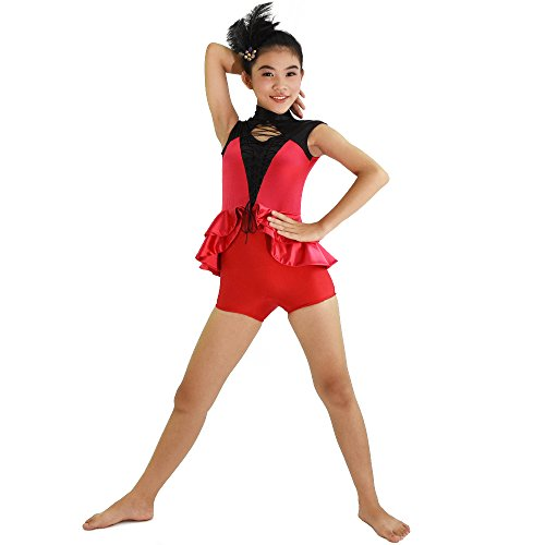 MiDee Girl's High Collar Tank Top Hip Hop Leotard Dance Costume (SC, Red) (Dance Costumes For Competition Lyrical)