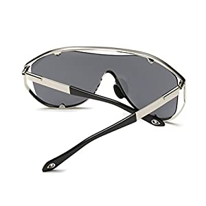 Konalla Oversized Fashion Metal Full Frame One-piece Flash Lenses Sunglasses C1