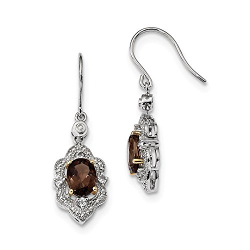 ICE CARATS 925 Sterling Silver 14kt Smoky Quartz White Topaz Diamond Drop Dangle Chandelier Earrings Fine Jewelry Ideal Gifts For Women Gift Set From Heart (Earrings Topaz Smoky Chandelier)