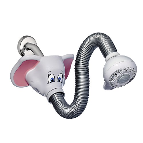 Waterpik KSH-306T Safari Spray Elephant Flexible Kids Shower Head, Light Gray by Waterpik