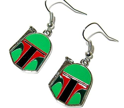 Star Wars Boba Fett Helmet Dangle Earrings w/Gift Box