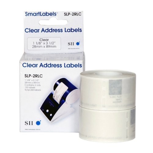 Seiko Instruments Clear Address Labels for Smart Label Printers (SLP-2RLC)