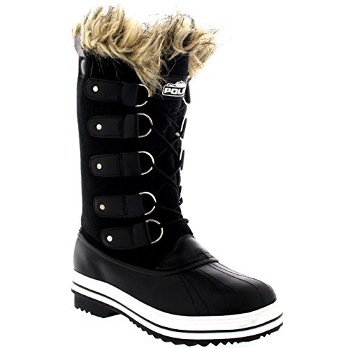 Polar Textil Zapato Manguito Negro Invierno Lluvia Caucho Piel Botas Cordones De Mujer fFwrqfp