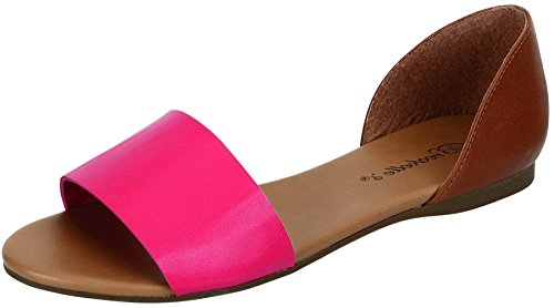 Breckelles Womens Brigit-01 Dorsay Colorblock Flat Sandal Hot Pink