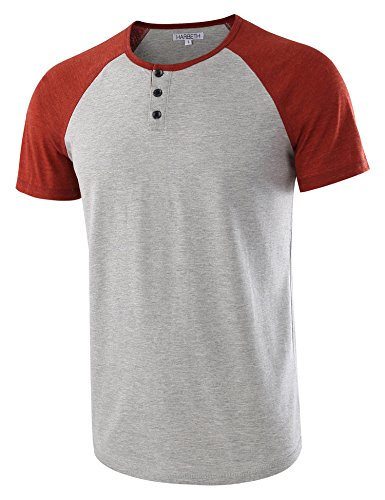 HARBETH Men's Casual Short Sleeve Henley Shirt Raglan Fit Baseball T-Shirts Tee H.Gray/Rusty L