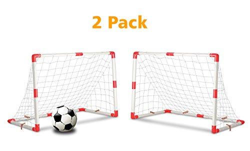 Kids Football Goal - Set of 2 Junior Soccer Goals for Kids (4x3-Feet)